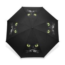 Трехскладной автоматический зонт для женщин и мужчин Guarda Chuva, компактный черный зонт, Winfproof, ультра-светильник, Paraguas, милый кот, дождевик