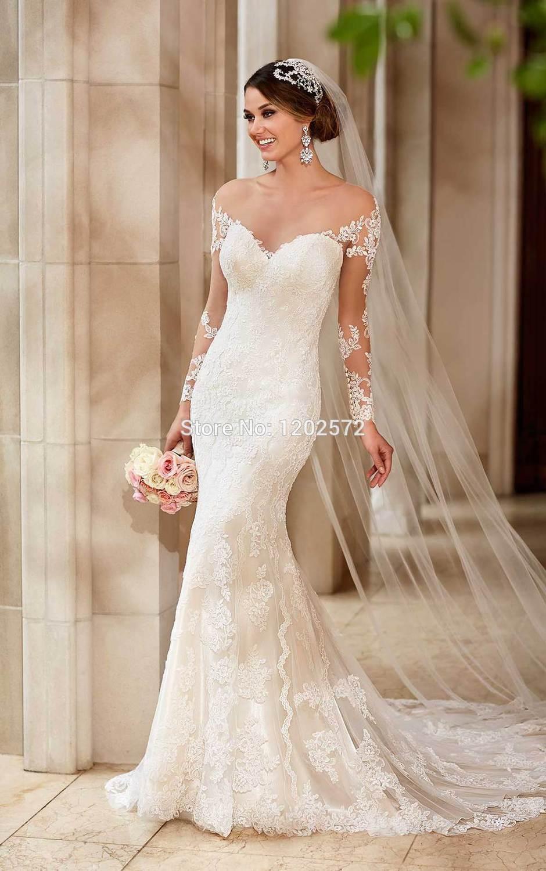Long Sleeve Mermaid bridal gownes 2015 Illusion Vestido De Noiva ...