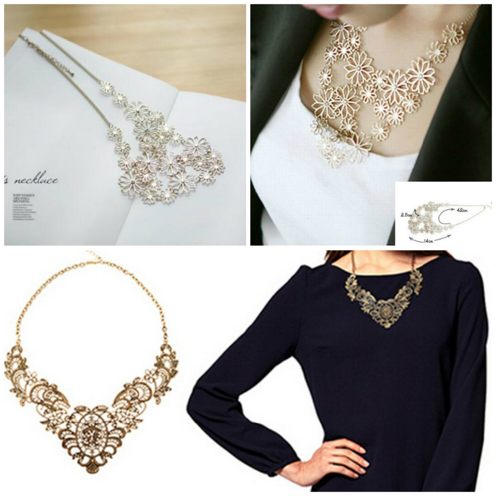 Hot Sale Vintage Western Style Bronze Multilayer Pendants Rhinestone Gold Color Hollow Flowers Necklace Jewelry Statement #DQlyt