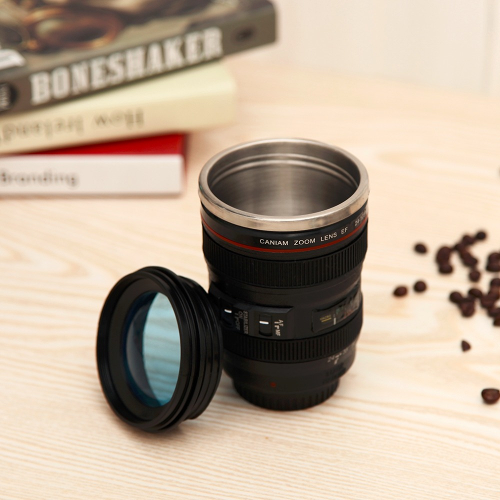2 Colors Durable Diy Stainless Steel Vacuum Flasks Travel Coffee Mug Cup Water Tea Camera Lens With Lid Dropshipping In Mugs From Home Garden