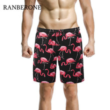 RANBERONE Mens Surf Board Shorts Summer Sport Beach Homme Bermuda Short Pants Print