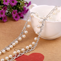 Sewing Supplies Silver Pearl And Rhinestone Trim High Quality Crystal Chain For Headband Decoration