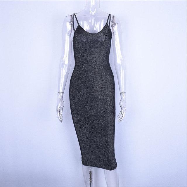 Knee length black spaghetti strap dress