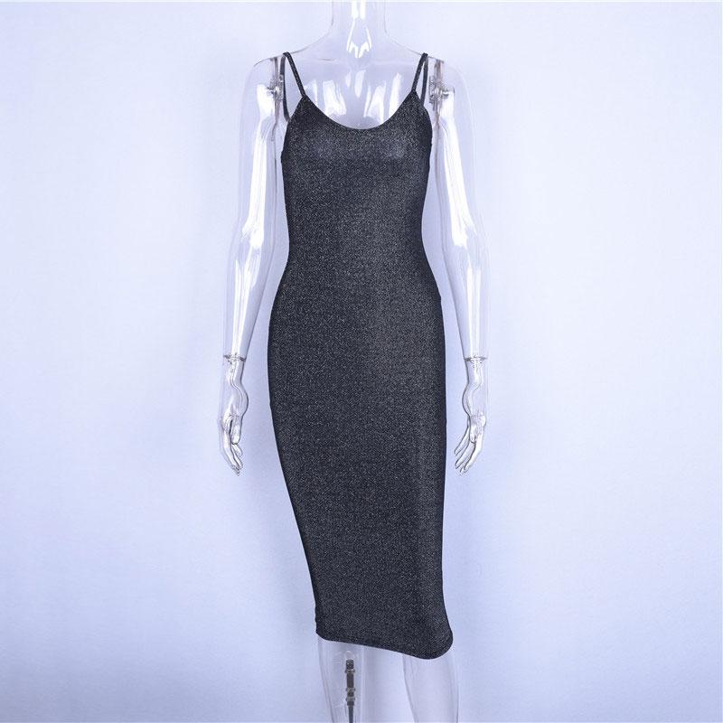 Hugcitar spaghetti straps slash neck backless sexy long dress 2018 women high waist bodycon elegant fashion