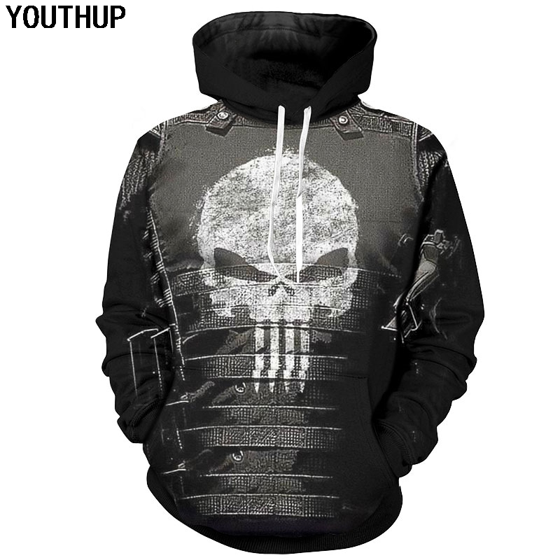 YOUTHUP 2018 New Design Cosplay Hoodies For Men Skull 3d Print Hooded Sweatshirts Cool Men Hoodies 3d Pullover 5xl Casual Coat