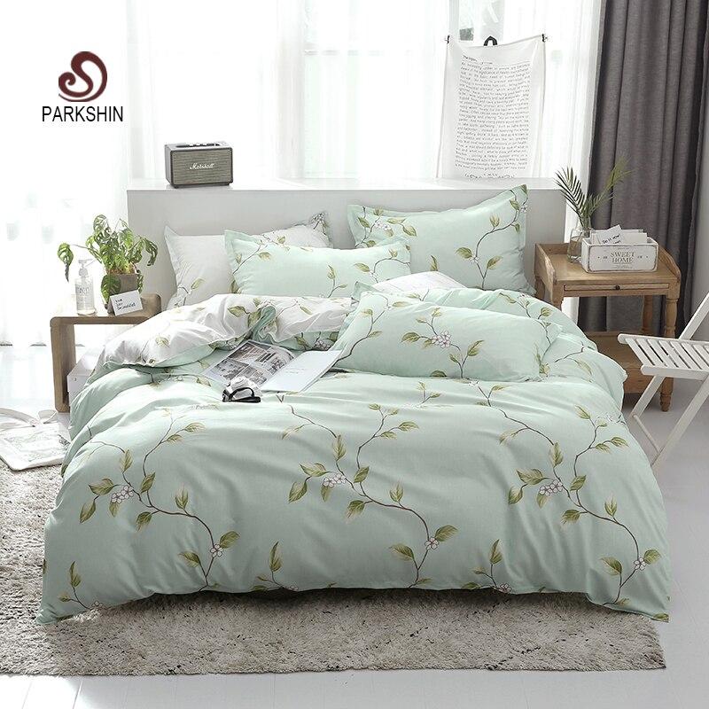 ParkShin Green Spring Home Textiles Pastoral Style Bedding Set Couple Home Bedding Decoration Bedroom Duvet Cover Flat Sheet Set