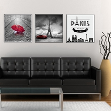 Paris Black and White Tower Red Umbrellas Flying Wall Art Canvas Painting Landscape Car Modern Home Decor Prints