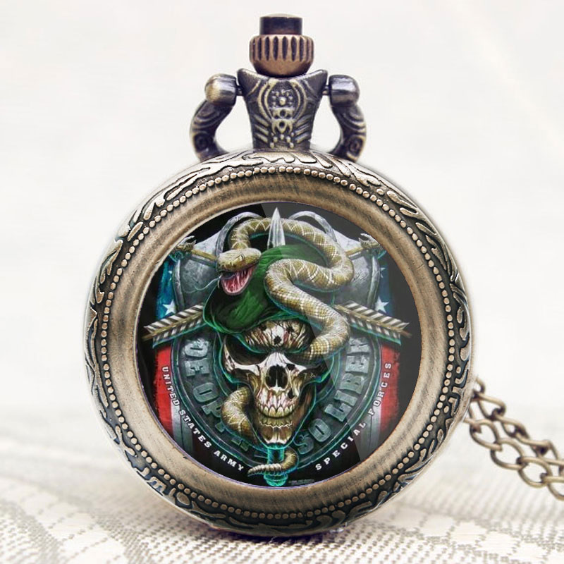 United States Army Special Force Delta Force Cobra Marshal Theme Glass Dome Pocket Watches Pendant Necklace Fob Watch For Men