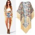 2015 Vintage étnico algodão Floral impressão Kimono Cardigan borlas Maxi camisa blusa Top