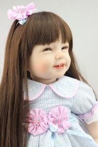 Image 3 - NPK Búp Bê Em Bé với mái tóc dài Thực Tế Silicone Mềm Tái Sinh Bé Gái 22Inch Đáng Yêu Bebe Trẻ Em Brinquedos boneca đồ chơi