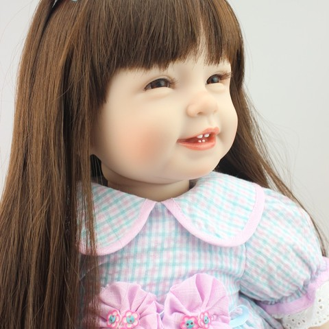 NPK Reborn Baby Doll with long hair Realistic Soft silicone Reborn Babies Girl 22Inch Adorable Bebe Kids Brinquedos boneca Toy Karachi