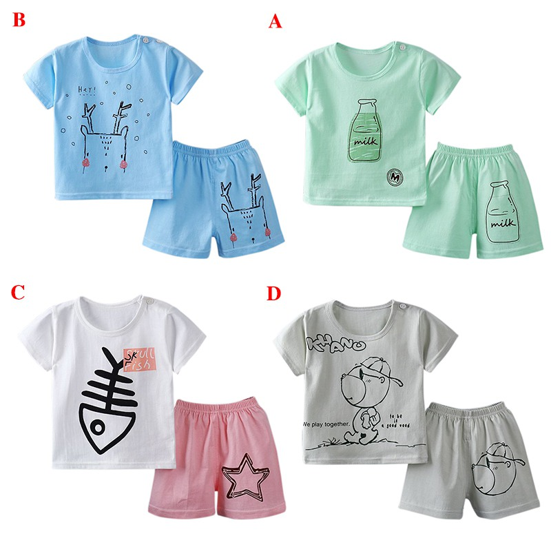 T-shirt + Shorts 2pcs Suit 2018 New Summer Baby Girl Boys Clothes Cotton Sleeveless Vest Baby Boy Girls Clothing Sets Infant flower sleeveless vest t shirt tops vest shorts pants outfit girl clothes set 2pcs baby children girls kids clothing bow knot