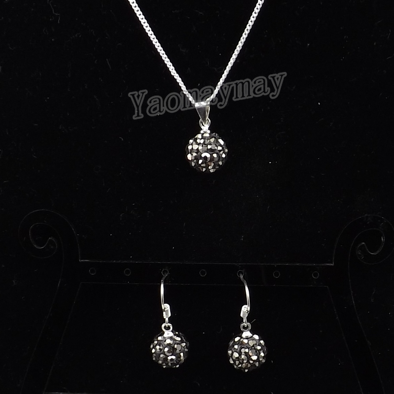 Rhinestone Jewellery Set Hematite Disco Ball Pendant Earrings And Necklace For Women 10 Sets Wholesale