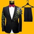 Envío libre para hombre negro/azul/rojo del pavo real que rebordea bordado traje esmoquin/stage performance jaceket con pantalones