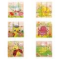 Quebra-cabeças de madeira das crianças dos miúdos de seis lados developmental brinquedo tangram puzzle brinquedos dos desenhos animados presentes (mundo dos insetos)