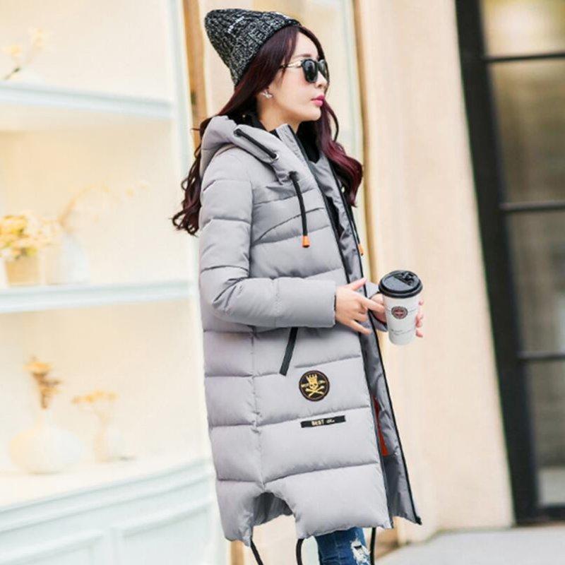 ФОТО 2017 Winter Thickening Women Parkas Women's Wadded Jacket Outerwear Fashion Cotton-padded Jacket Medium-long Coat