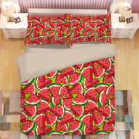 3D Bedding Set Fruit watermelon king twin Duvet Cover Set Lifelike Bedclothes with Pillowcase red quilt cover Set Home Textiles