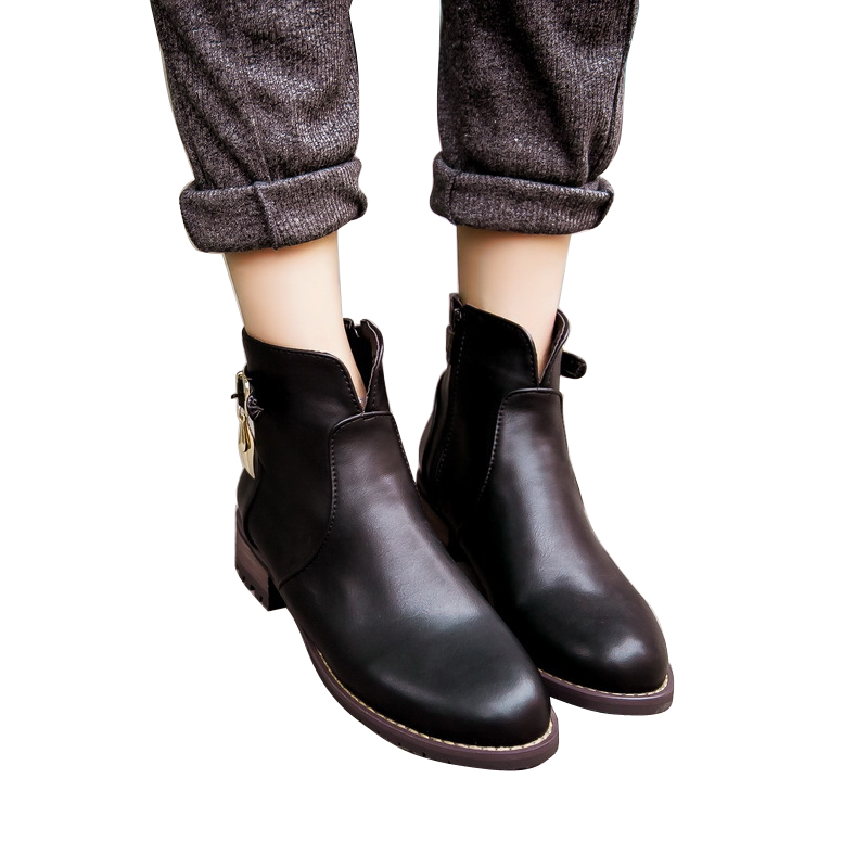 ФОТО 2015 new women boots round toe square heel ankle boots for women PU leather martin boots winter boots botas women shoes DT35