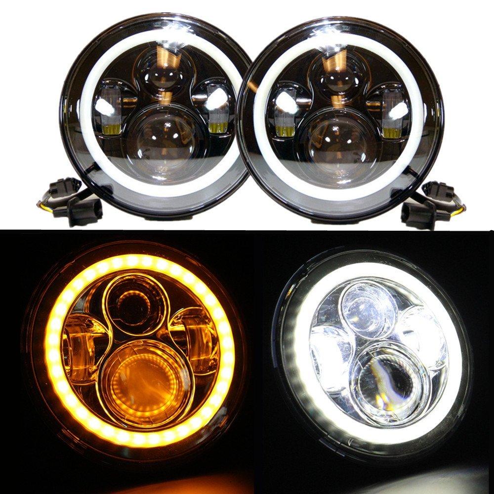 1 пара 7 дюймовый светодиодные фары высокой ближнего света желтой truning сигнала для Jeep Wrangler с глаза ангела
