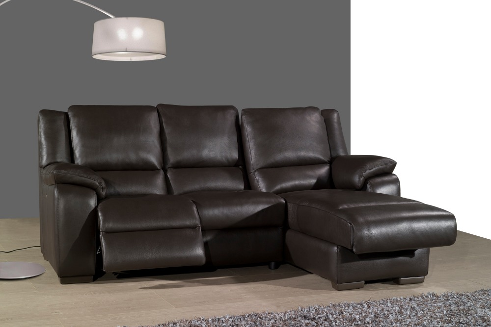 Living room sofa recliner sofa cow genuine leather for Sofa en l liquidation