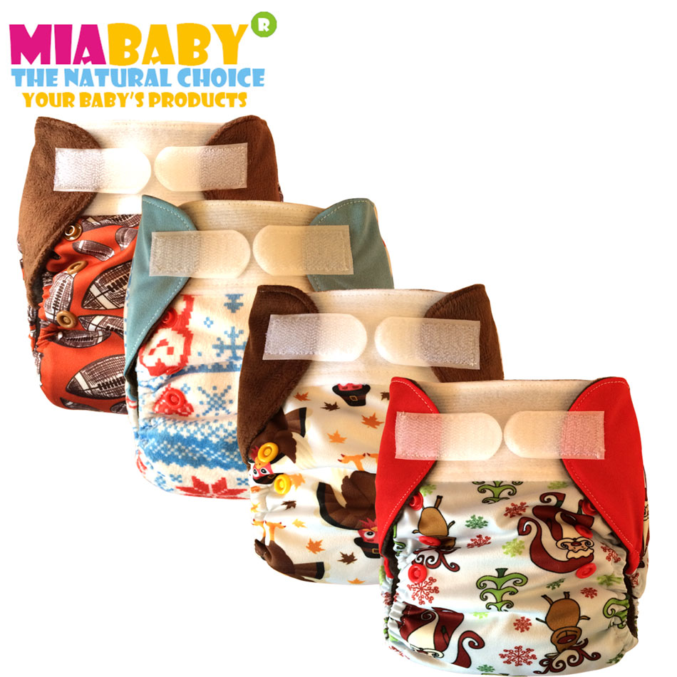 Miababy (3pcs/lot) NB&S Pocket&AIO Cloth Diaper With HEMP Insert, Fit 0-6 Months Baby Or 6-19lbs Baby