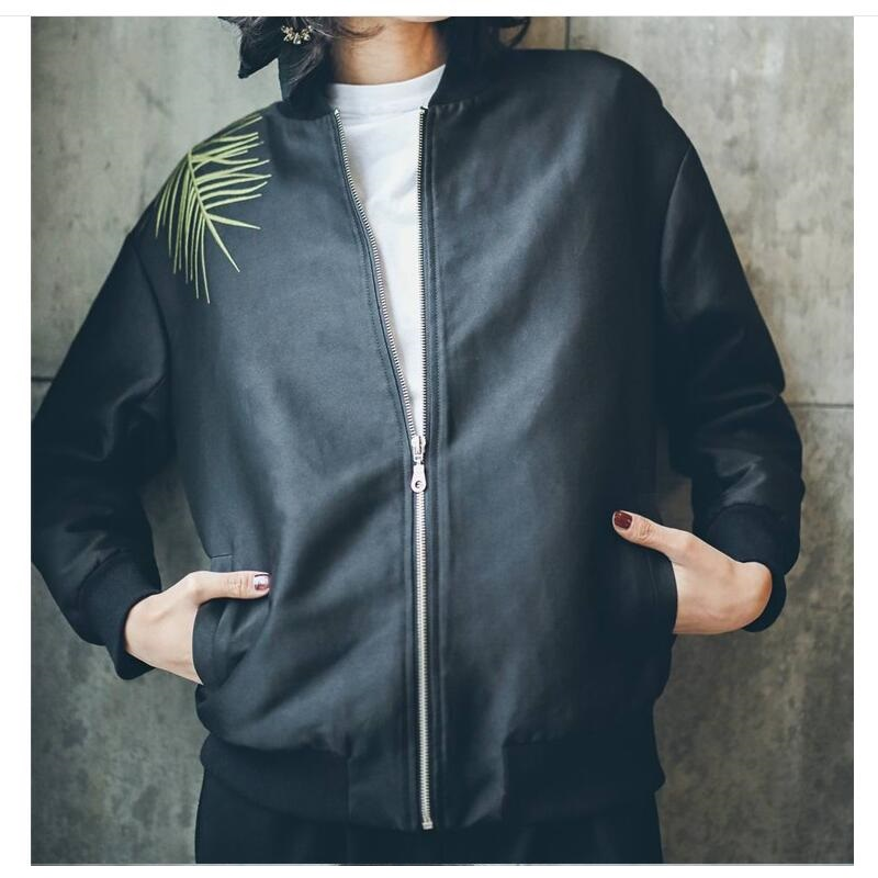 Women long sleeve Black retro emboridery leaves baseball printed Rock Hip-pop motorcyle Coat zipper punk bomber Jacket