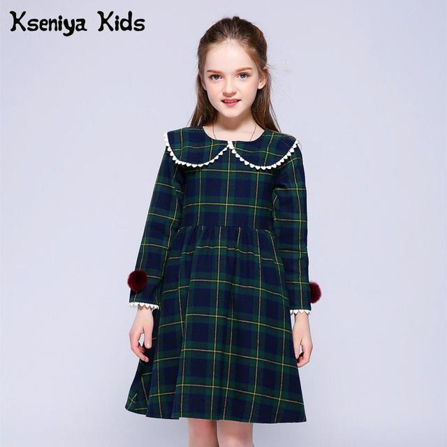Kseniya Kids Spring Girls Plaid Designer Princess Dress Long Sleeve Kids Dresses For Girls Baby Girl Pretty Brief Style Clothes