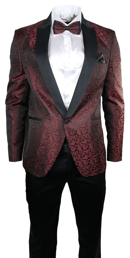 Latest Coat Pant Design Burgundy Pattern Wedding Men Suits Jacket Unique Patterned Suit Jacket