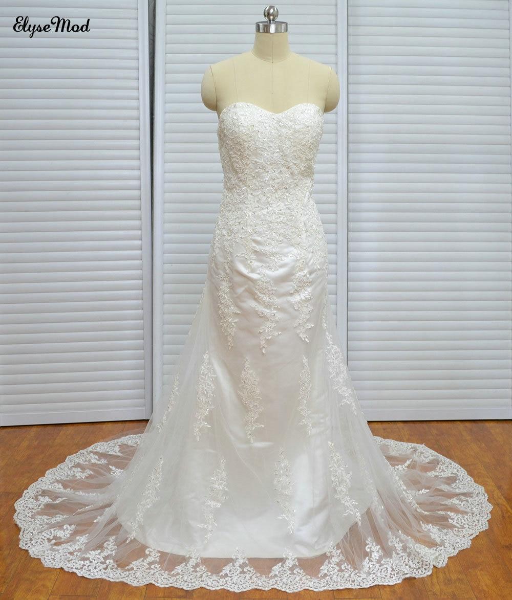 Elegante vestido de novia de encaje sirena vestidos de novia con - Vestidos de novia