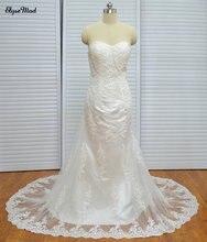 Gaun Elegant Sweetheart Lace Mermaid Pakaian Perkahwinan dengan Manik Mahkamah Keretapi Appliques Vestidos De Noiva