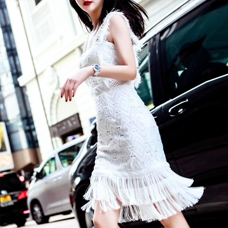 HANZANGL/2019 модное дизайнерское платье для подиума, женское сексуальное Белое Кружевное платье без рукавов с кисточками, повседневные платья д
