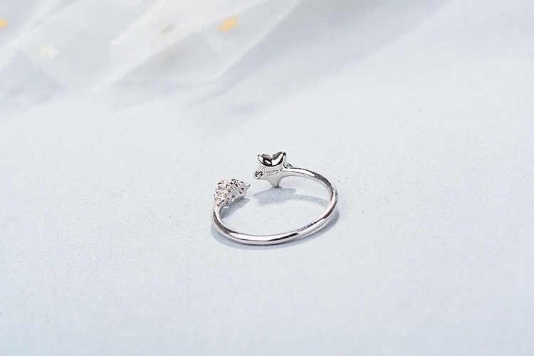 Оптовая продажа, модное 925 пробы Серебряное кольцо с большой звездой для женщин и девочек, регулируемое размер, Открытое кольцо, ювелирные изделия для свадебной вечеринки