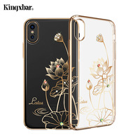 IPhone için KINGXBAR X 10 Vaka Swarovski Eleman Kristaller Elmas Rhinestone Lüks Hard Case için iPhone X Kapak Telefonu Coque çapa