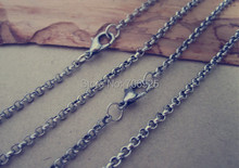 100pcs/lot  2mm antique silver Link necklace pendant chain With Lobster Clasp 19inch цена и фото