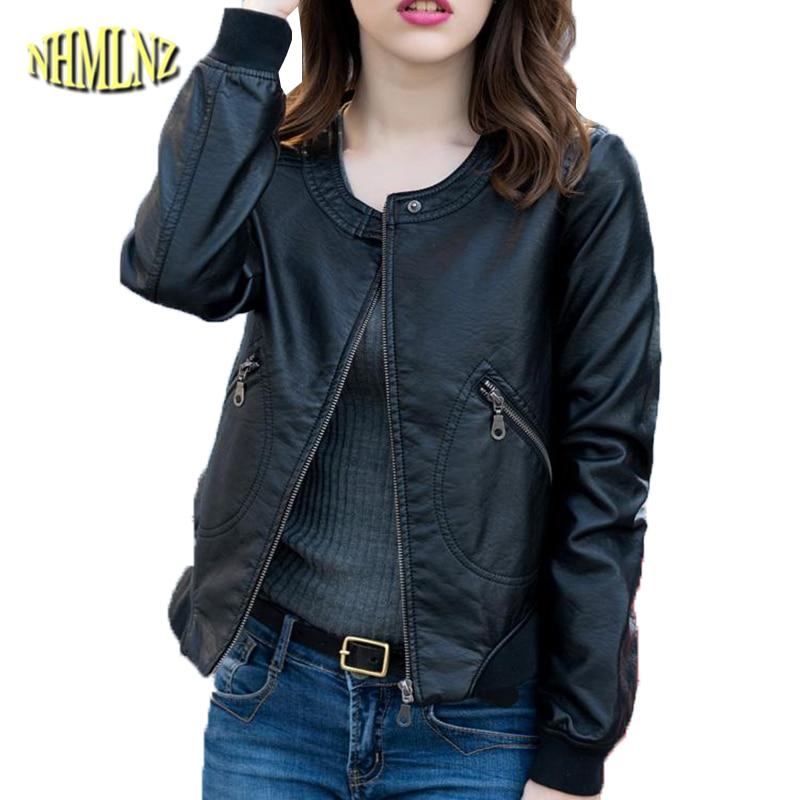 Faux   Leather   Jacket Women 2019 Autumn Solid color Slim Coats Large size 5XL Long sleeve Short   Leather   Jacket Female DAN251
