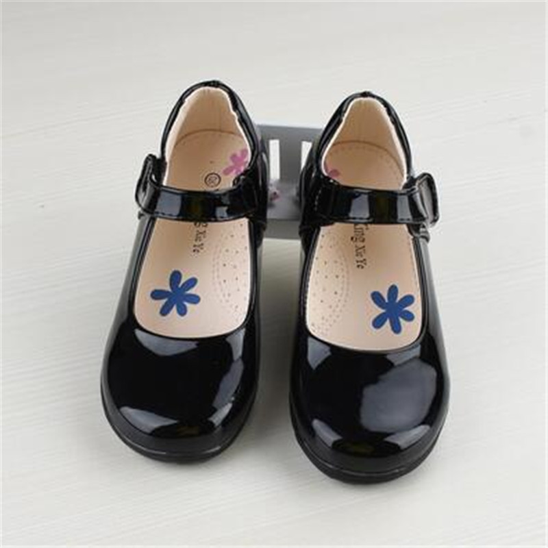 Newest Spring Autumn Princess Girls Shoes Kid Party Dress Shoes Fashion Flowers Black Leather School Shoes For Children 26-40