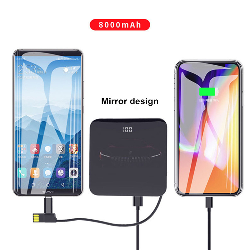 8000mAh Mobile Power Supply With Cable Dual USB fast Charging Mobile Power Supply Aluminum Mini Power Bank 2.0A fast Charger
