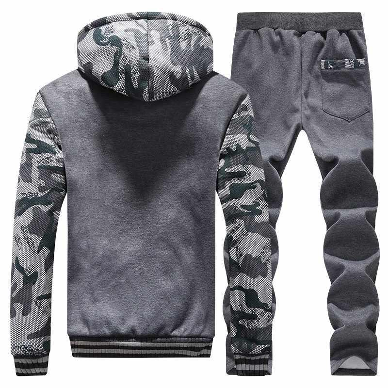 Heren Sportkleding Winter Dikke Fashion Brand Tops + Broek Sets Casual Slim Fit Fleece Trainingspakken Sweaters Sportsuit mannen