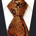 P21 tamanho extra longo paisley orange preto mens correspondência lenço laços gravatas 100% seda tecido jacquard nova marca de moda