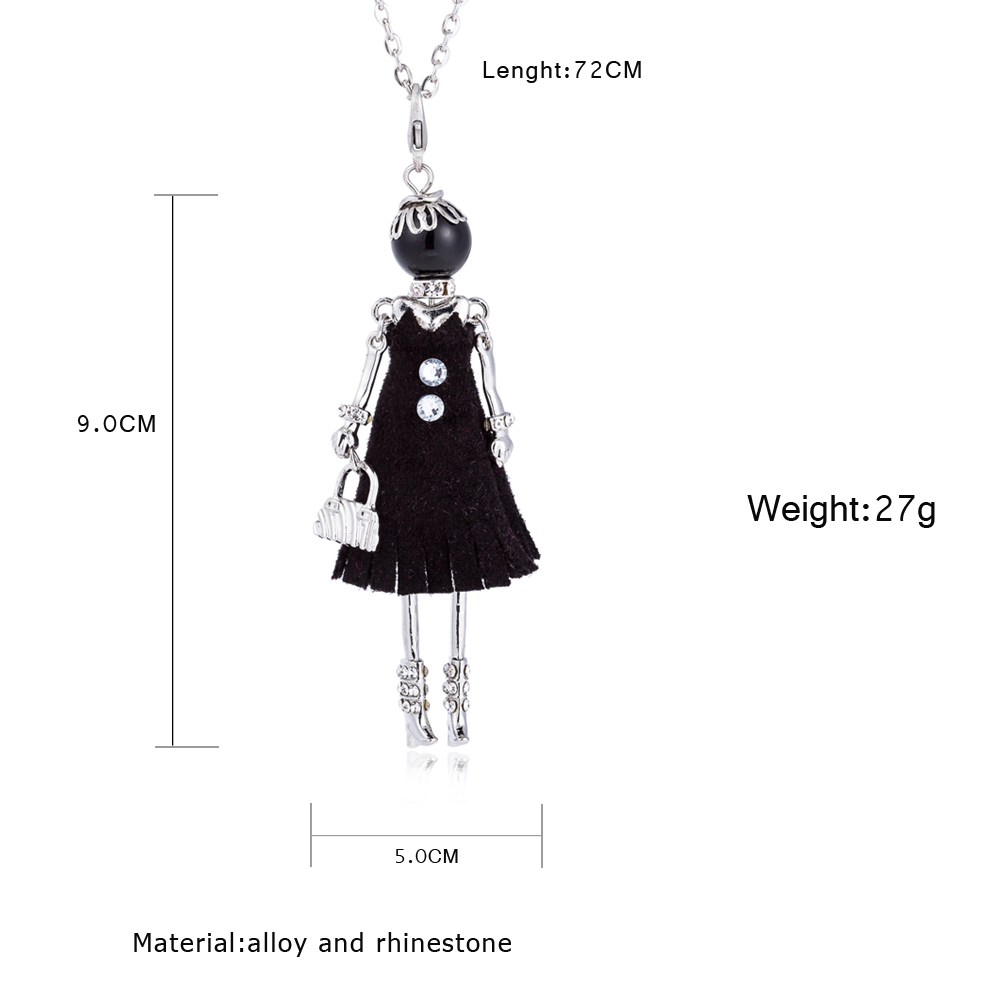 WNGMNGL 2018 Simulated Pearl Black Dress Doll Pendant Necklace New Long Chain Necklace For Women Fashion Accessories Jewelry in Pendant Necklaces from Jewelry Accessories