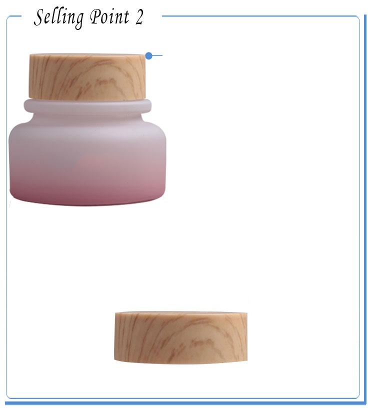 50pcs empty 50 g light pink glass cream jar with wood grain ABS lid, wholesale glass 50 gram cosmetic container for eye cream