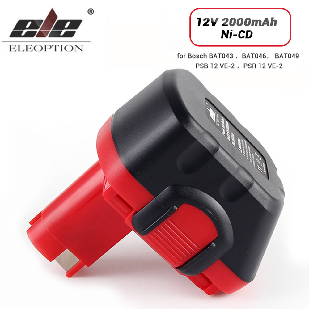 ELEOPTION 12V 2000mAh Ni-CD Battery for Bosch 12V Drill GSR 12 VE-2,GSB 12 VE-2,PSB 12 VE-2, BAT043 BAT045 BTA120 26073 35430 ve bc vebc msop