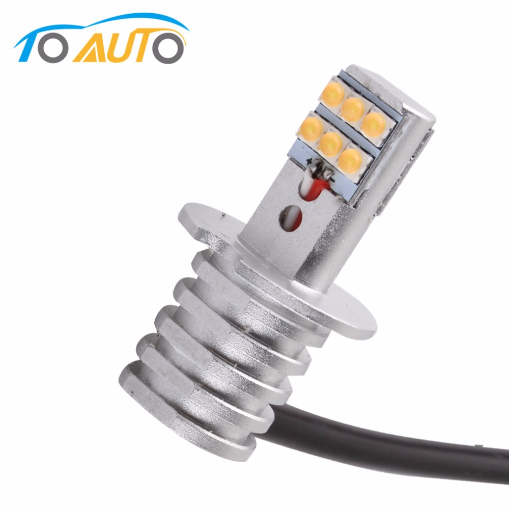 H3 6000K White 12 SMD Super Bright Led Chip 650LM Car LED Fog Lights Bulb High Bright Daytime Auto Light DRL Lamp 6000K 12V