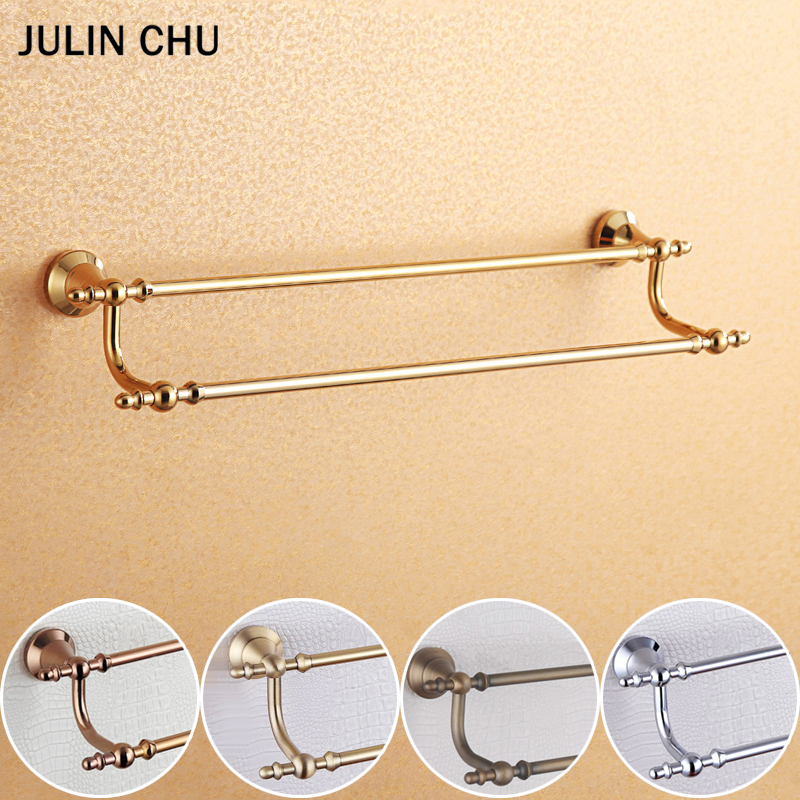 Rose Gold  Double Towel Bars Wall Mounted Luxury Antique 304 Stainless Steel and Copper Hanging Shelf Decor Towel Rail Rack 65cmRose Gold  Double Towel Bars Wall Mounted Luxury Antique 304 Stainless Steel and Copper Hanging Shelf Decor Towel Rail Rack 65cm