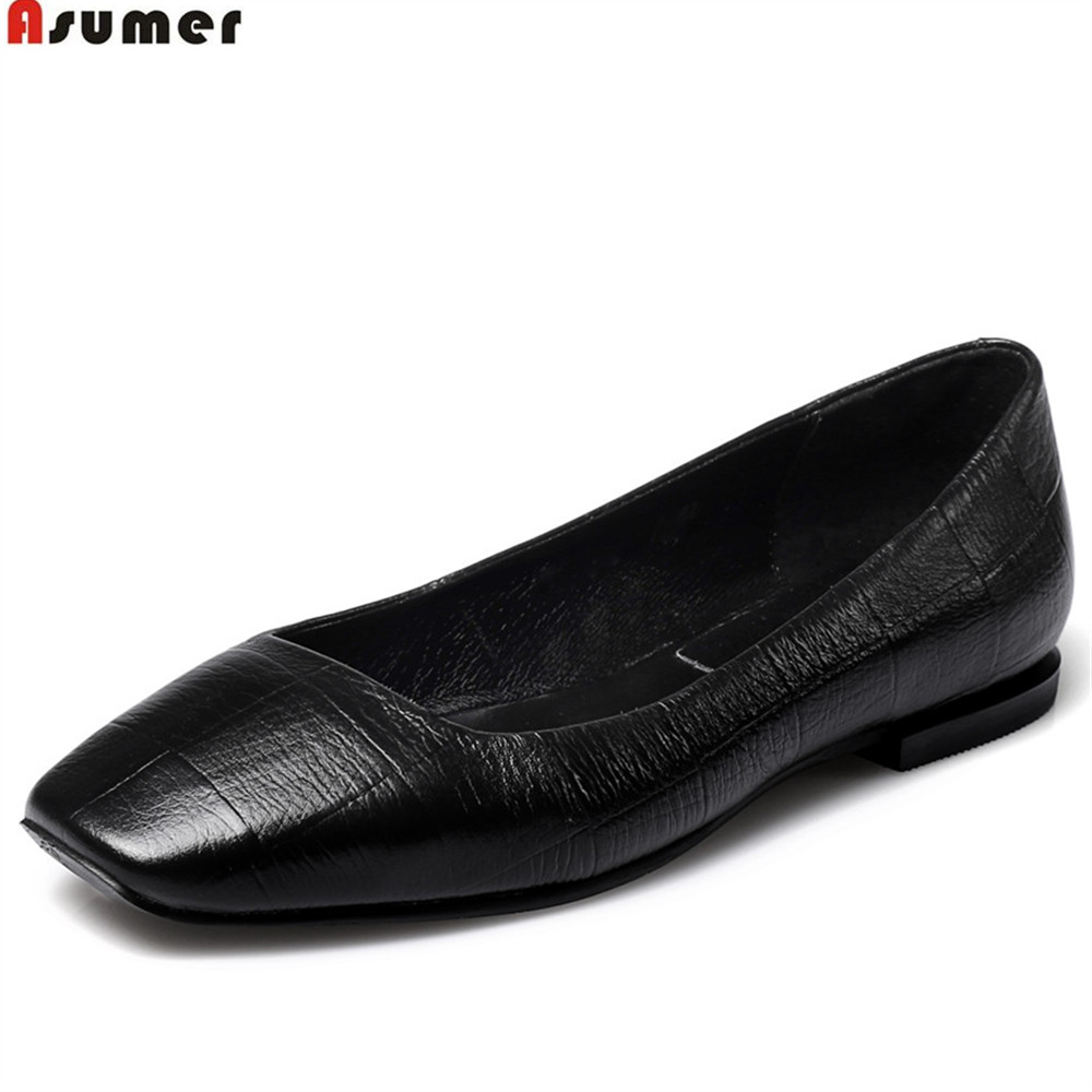 Asumer black silver square toe shallow casual ladies flat shoes spring autumn casual shoes women genuine leather flats