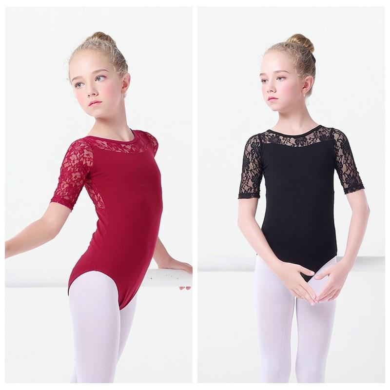 8e709611350e Black Lace Ballet Leotards Girls Kids Vest Ballet Clothing Dancewear ...