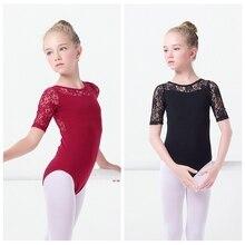 Leotards Ballet Meninas Crianças Colete de Renda preta Roupas Ballet Dancewear Crianças Gymnastics Leotards