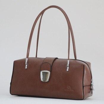 fe0de3b7c2fe Кожаная женская сумка-доктор 2019 Новая модная женская сумка сумки женская  сумка на плечо простая сумка ~ Большая емкость ~ 18B45
