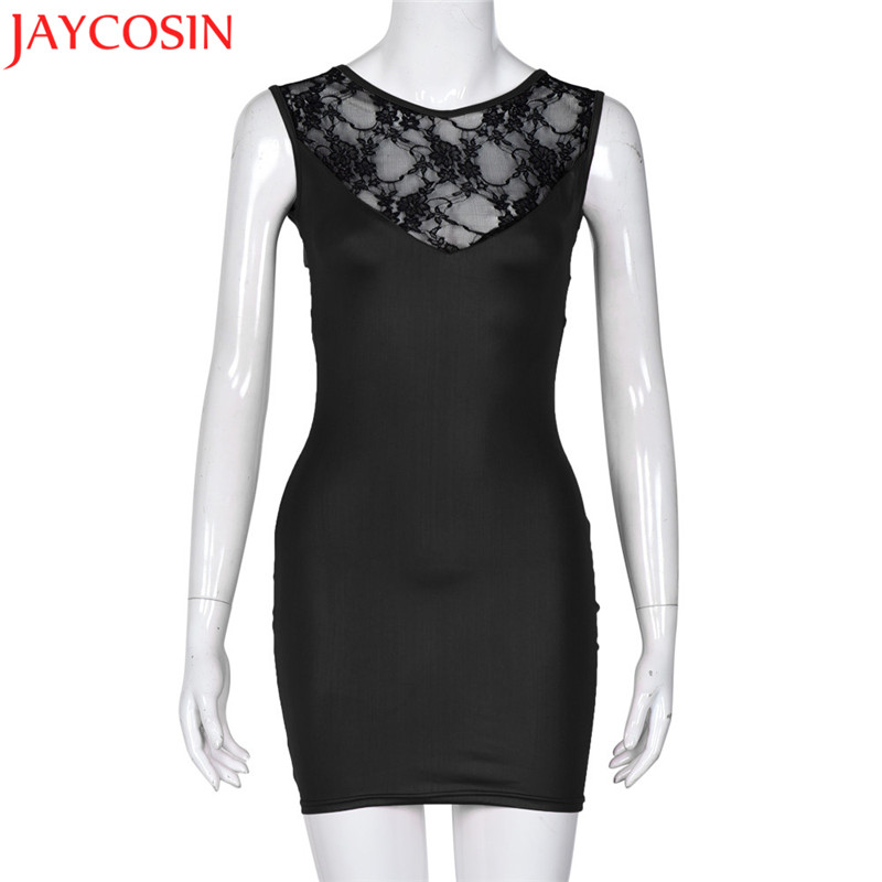 2017 Mini Dress Women Sexy Black Dress Female sexy tight leather Lace Dresses Lady Sleeveless See Mesh Party Club dresses sp28b