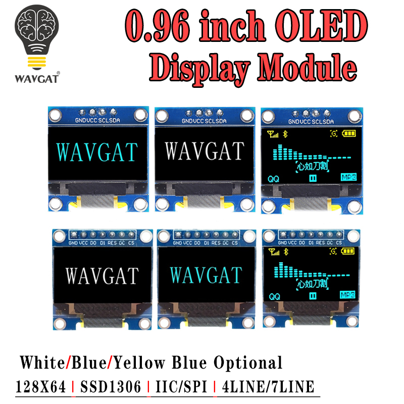 """0.96 Inch OLED IIC Serial White Display Module 128X64 I2C SSD1306 12864 LCD Screen Board GND VCC SCL SDA 0.96"""" For Arduino Black"""